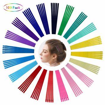 Bobby Pins - 100 Pcs Colorful Hair Barrettes Metallic Hair Clip Multi Colored Hair Accessories For Women