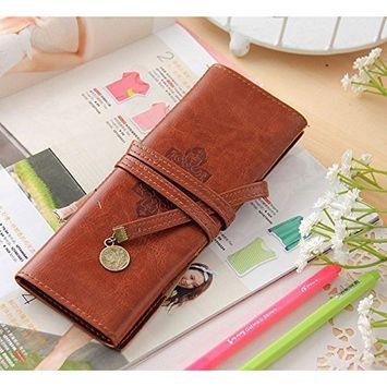 DZT1968 Vintage Pirate Style Roll practical Pencil Bag Pen Pocket Pack Make Up Tool Case