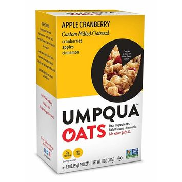 Umpqua Oats Apple Cranberry Custom Milled Oatmeal, 2 Boxes of 6 (12 Packets) (PACKAGING MAY VARY)