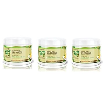 [VALUE PACK OF 3] ORS OLIVE OIL FOR NATURALS BUTTER GLAZE GEL SOUFFLE 12 OZ : Beauty