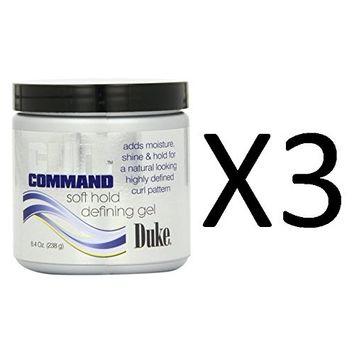 [ VALUE PACK OF 3] DUKE CURL COMMAND SOFT HOLD DEFINING GEL 8.4OZ MOISTURES : Beauty