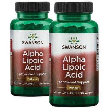 Swanson Alpha Lipoic Acid Antioxidant Cellular Protection Promotes Healthy Blood Sugar Supplement 100 mg 240 Capsules (Caps) 2 Bottles