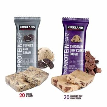 Kirkland Signature Protein Bars, Cookies and Cream (20) and Chocolate Chip Cookie Dough (20) - 40 Count total