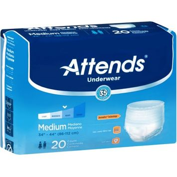Attends Adult Pull-On Extra Absorbency Protective Underwear Medium, 34 -44, 80 Count - 4 Pack