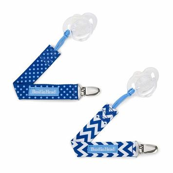 BooginHead Baby Newborn PaciGrip Pacifier Clip, Holder, Toy, Teether, Soothie, Universal Loop Girl, Boy, Blue Chevron, Blue Polka Dots, 2 Pack