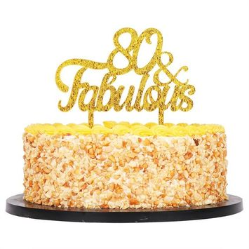 QIYNAO Gold Premium Quality Acrylic 80& Fabulous Cake Topper Happy 80th Birthday Anniversary Party Decoration