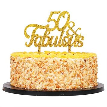 QIYNAO Gold Premium Quality Acrylic 50 & Fabulous Cake Topper Happy 50th Birthday Anniversary Party Decoration