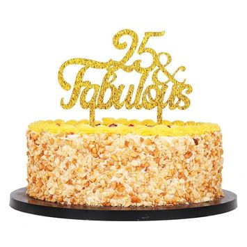 QIYNAO Gold Premium Quality Acrylic 25 & Fabulous Cake Topper Happy 25th Birthday Anniversary Party Decoration