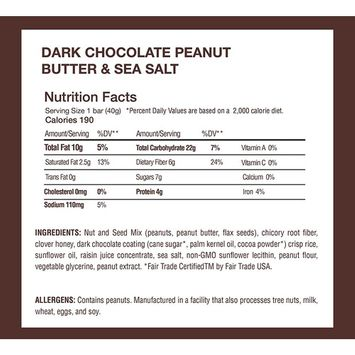 Granola Breakfast Bar, Dark Chocolate & Peanut Butter by This Bar Saves Lives, 1.4 oz, 12 bars [Dark Chocolate Peanut Butter]