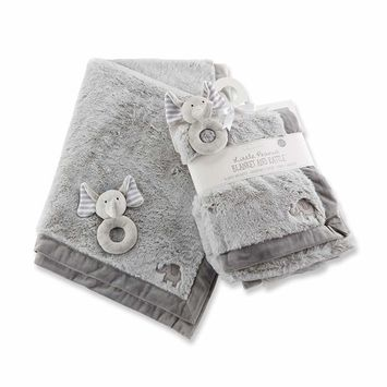 Baby Aspen Little Peanut Elephant Blanket and Rattle Set, Grey/White