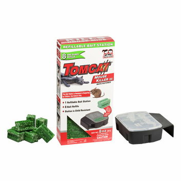 Tomcat Mouse Killer III Refillable Bait Station with 8 Bait Refills