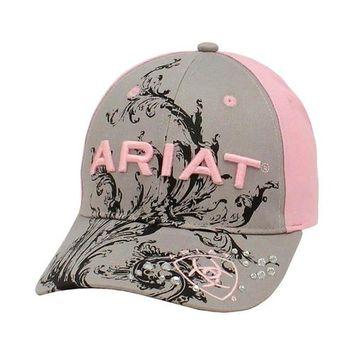 Ariat Ladies cloth hook and eye Scrolll Cap - Gray