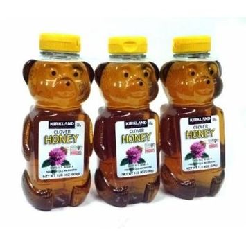 3 Kirkland Signature Clover Honey Bears- 1 Lb 8 Oz-(three)