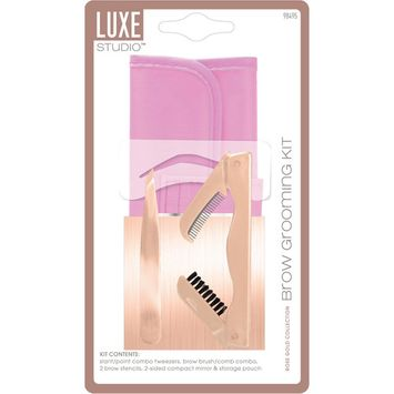 LUXE Studio Rose Gold Collection Brow Grooming Kit, 6 pc