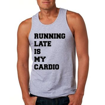 Allntrends Men's Tank Top Running Late Is My Cardio (S, Heather Gray)