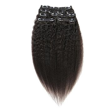 Kinky Straight Clip in Human Hair Extensions Double Weft Brazilian Virgin Straight 7A Hair Clip ins 7Pcs/set (90g/set 12