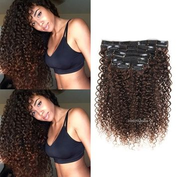 Fine Jerry Curly Clip in Hair Extensions Human Hair Double Weft Top Grade 7A Brazilian unprocessed Virgin Hair Clip ins Dark Brown Hair Extensions Curly 7Pcs/Set (100g 20