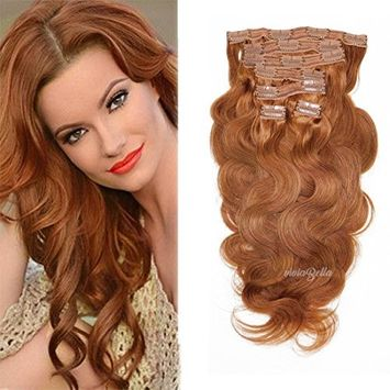 Full Head Clip in Hair Extensions Body Wave Human Hair Brazilian Virgin Hair Double Weft 7Peices/set (100g 18