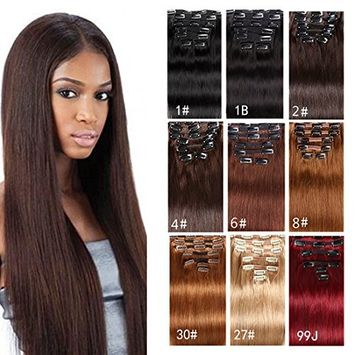 7A Clip in Hair Extensions Human Hair Brazilian Virgin Hair Double Weft Full Head Straight 22inch-24inch 7 Pieces/set (200g 28