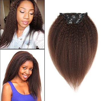 Kinky Yaki Straight Clip in Human Hair Extensions Black Double Weft Brazilian Unprocessed Virgin Hair Clip ins Top Grade 7A 7Pieces/set For African American (70g 10