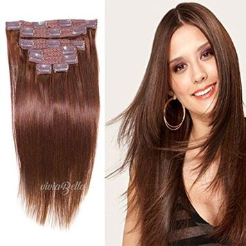 Clip in Hair Extensions Human Hair Brazilian Virgin Hair Double Weft Full Head Straight 7 Pieces/set (70g 14
