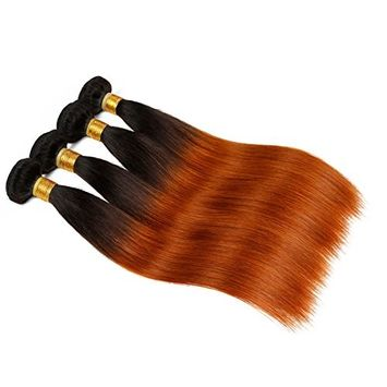 7A 100% Virgin Brazilian Human Hair Weave Extension Unprocessed 3 pack Bundle Straight Ombre Copper Red Hair Extensions