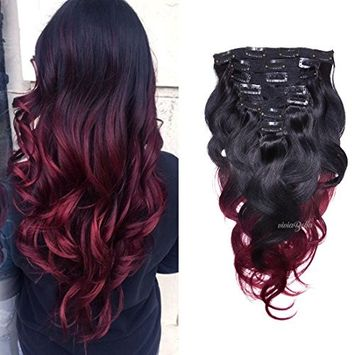 Burgundy Ombre Hair Extensions Body Wave Clip in Human Hair Brazilian Virgin Hair Double Weft Clip ins 7 Pieces/set (70g 16