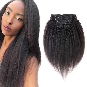 Good quality Kinky Yaki Straight Thick Clip in Human Hair Extensions Double Weft Brazilian Unprocessed Virgin Hair Top Grade 7A 7Peices/set for American Black Women(70g 14