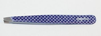 DreamCut Blue and White Checked Expert Slant Tweezers