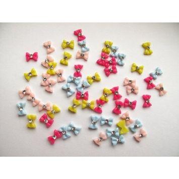 Nail Art 3d 60 Pieces Mix Color Bow for Nails, Cellphones .8cm*.4cm