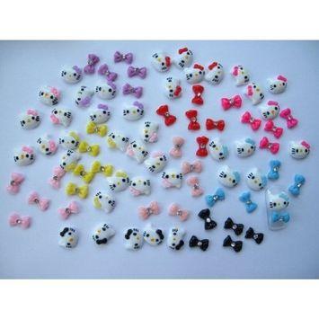 Nail Art 3d 80 Pieces Mix HK Head & Bow for Nails, Cellphones 1.2cm*1.1cm