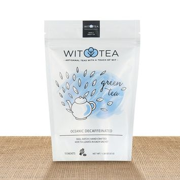 Artisanal Small Batch 30 Green Tea Bags - Oceanic Decaffeinated - Premium Unblended Green Tea Leaves in Hand Crafted Biodegradable Silk Pyramid Sachets - (Pack of 2) 30 tea sachets - by WitTea