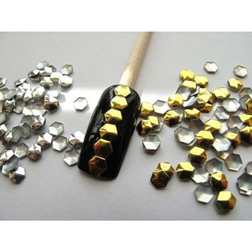 Nail Art 270 Pieces Mix 4mm Hexagon Metal Studs(135 Silver+ 135 Gold) for Nails, Cellphones