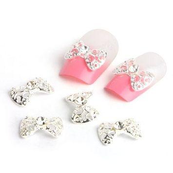 Yesurprise 10pcs White Bow Tie 3D Alloy Rhinestones Nail Art Glitters Slices DIY Decoration
