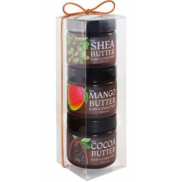 Shea, Mango, Cocoa Body Butter Sampler Gift Pack - Pure and Natural - Raw, Organic, Unrefined - Purse and Travel Size for on-the-go Moisturizer and Lip Balm Needs