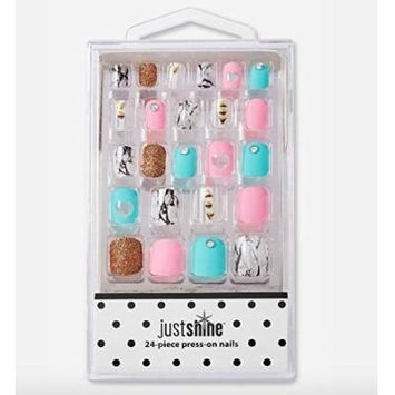 Justice Girls Press-on Nails Marble Sparkle