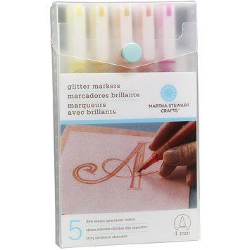 Martha Stewart 479865 Glitter Markers Set-Warm Spect