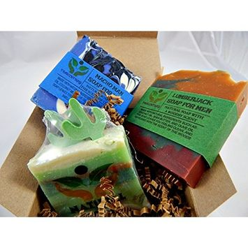 Men's Soap Gift Set 3 All Natural Soaps in 1 Gift-able Box W/Ribbon and Bow Includes Lumberjack, Mojave Mirage, and Macho Man Soaps For Men (SINGLE 3 PACK)