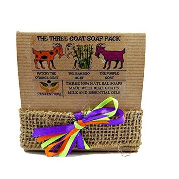 Goat Milk Soap Gift Set 3 All Natural Soaps in 1 Gift-able Box W/Ribbon and Bow Includes Lavender, Bamboo Charcoal, and Patchouli Oil Soaps (Single 3 Pack)