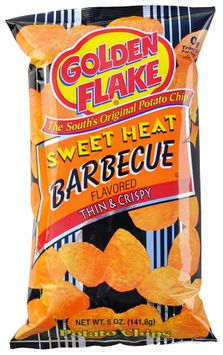 golden flake® sweet heat barbeque flavored thin & crispy potato chips