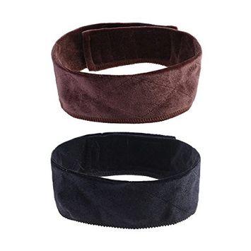 BCP 2PCS 21.5inch Black & Brown Elastic Velvet Wig Grip Band Adjustable Head Hair Band