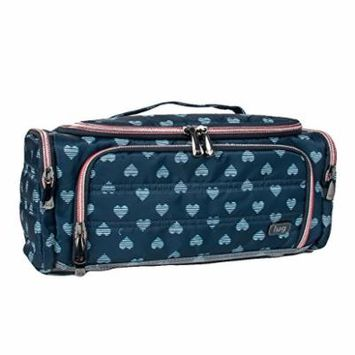 Lug Women's Trolley Cosmetic Case, Brushed Blue Hearts
