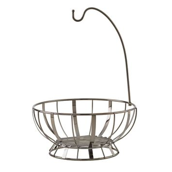Gourmet Basics Stripe Gunmetal Fruit Basket With Banana Hanger