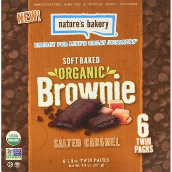 Nature's Bakery Organic Brownie, Salted Caramel, 6 Count (Pack of 6)