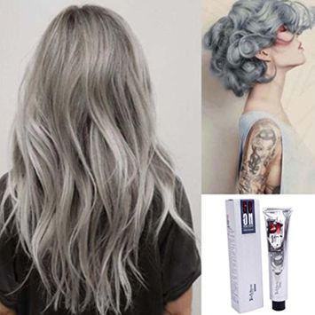 Hunputa Popular Punk Silver Grey Permanent Hair Color Dye Hair Salon Long Lasting Styling Hair Dyeing Coloring Cream for Party, Cosplay