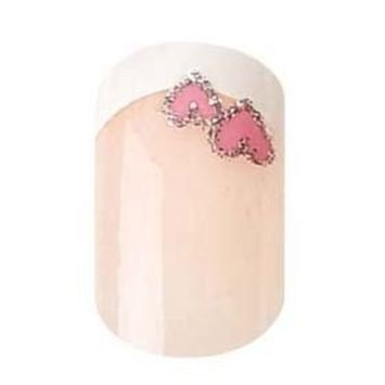 Party Nails, Pre Glued, False Nails, 12 (French Manicure with a Pink Heart)