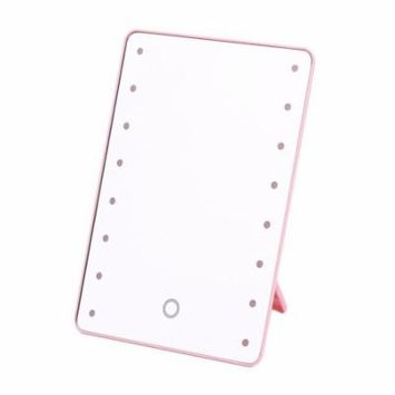 16 LEDs Pink Makeup Mirror with light Tabletop Led Makeup Mirror for Girls Beauty