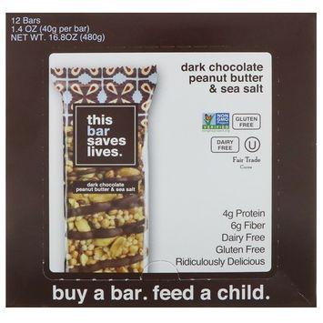 This Bar Saves Lives, LLC, Dark Chocolate Peanut Butter & Sea Salt, 12 Bars, 1.4 oz (40 g) Each [Flavor : Dark Chocolate Peanut Butter & Sea Salt]