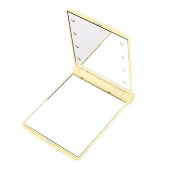 Folding Portable Make Up Mirror Lady Cosmetic Mirror Built-in LED Bulbs Mirror