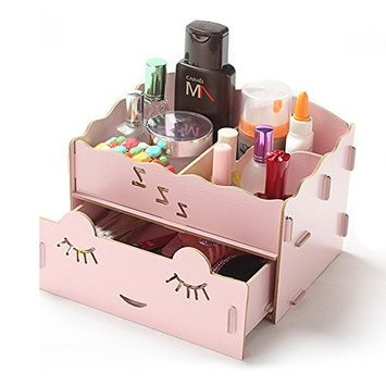 HaloVa Jewelry Box, Wooden Makeup Storage Holder, Durable Large Waterproof Jewelry Cosmetic Organizer with Little Drawer, for Storing Jewelry BB Cream Perfume Nail Polish, Pink